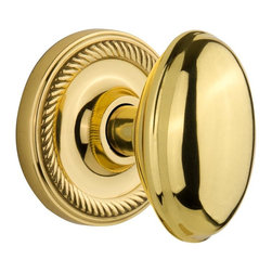Nostalgic - Nostalgic Privacy-Rope Rose-Homestead Knob-Polished Brass (NW-704661) - Rope Rose with Homestead Knob - Privacy