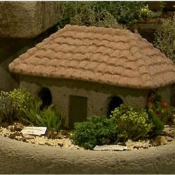 Italian Garden Cottage - The Italian countryside comes to life in your backyard with Brookfield's Italian Garden Cottage. This sculpted collectible features a detailed tile roof, textured and aged surfaces, a door, and four windows. The roof is also completely removable, a great place to hide a spare house key, store a few gardening supplies, or insert a light to create a garden lantern. Handcrafted from weather-resistant reinforced cement, this durable cottage will enchant you and your guests for years to come. Weighs 21 lbs. and measures approximately 14.5L x 9.5W x 10H inches. Minimal care is required.