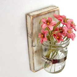 Shabby Chic Sconce Cottage Decor Vase by Old New Again - What a sweet and simple way to display a little bouquet!