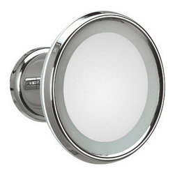 WS Bath Collections - Lucciolo 20-0 Magnifying Mirror 3x with Incandescent Lamp - Lucciolo 20-0 x3 by 9.5 Dia. x 7.1 Extension Magnifying Mirror, with Incandescent Lamp, Hard Wiring Direct Power Supply, in Chromed  Plated Brass and Anodized Varnished