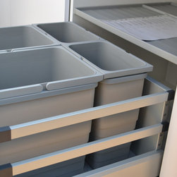 Bauformat kitchens -  Made by Bauformat designed in Kaliningrad - base unit with waste system, very convenient kitchen cabinet with trash bins inserted in the cabinet. This recycling drawer can be used under the sink