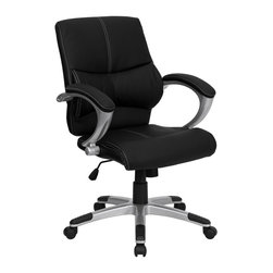 Flash Furniture - Black Leather Swivel Manager Chair - Mid back design. Lumbar support. Nylon loop arms. Thickly padded leather upholstered arm rests. Black leather upholstery with white stitching. Pneumatic seat height adjustment. Spring tilt tension control mechanism. Nylon base with silver finish. Dual wheel casters. Contemporary styling. Warranty: 2 years limited. Assembly required. Back: 20.5 in. W. Seat: 21.25 in. W x 19.5 in. D. Seat Height: 18.75 - 22.25 in.. Arm Height from Floor: 27.75 - 31.25 in.. Overall: 31 in. W x 26.75 in. D x 38.25 - 41.75 in. H (42 lbs.)
