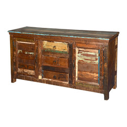"Sierra Living Concepts - Rustic Reclaimed Wood Appalachian Multi Color Sideboard Buffet - ,Honor the process of time and tradition with our Appalachian Weathered Buffet. This solid wood standing cabinet offers lots of storage options with two 2-shelf side cupboards and three center drawers. The 59"" by 18"" large server top provides lots of room for trays and plates. The distressed sideboard is built with reclaimed wood from Gujarat. The surface of old wood is naturally aged by time and weather, no additional stains or paints are added."