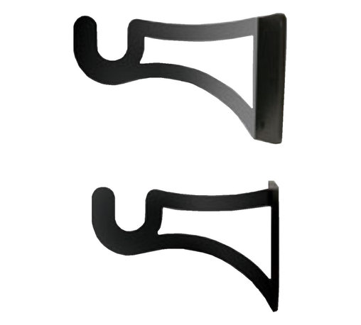Village Wrought Iron - Regular Curtain Rod End Mounting Brackets - 1/2 inch diameter rod end brackets for single rod end mounting. 3 1/8 In. Depth  2 In. High  (set of 2 brackets required for each curtain rod). Decorative, functional and long lasting handcrafted products for your home carefully made using the finest materials and time-tested methods of craftsmanship. Quality and durable coated products have a baked on powder coating to ensure that you may enjoy each piece for many years. Toilet Tissue Holder Measurements Are Approximate. Proudly crafted in the USA. Material is Handcrafted Iron. Finish is a Flat Black Powder Coated Iron for that long lasting appeal.
