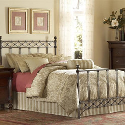 Argyle Metal Bed - Aptly named for the wire diamond pattern on the headboard and footboard. This metal bed features a copper chrome finish, a mixture of copper and silver streaked with black antiquing, which will allow the bed to coordinate with many types of wood accessory pieces.