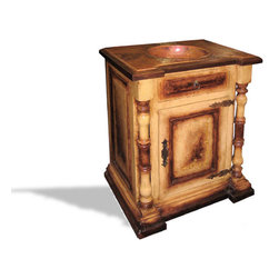 Koenig Collection - Old World Spanish Copper Vanity Francisco, Fresco Moss & Brown Distressed - Old World Spanish Copper Vanity Francisco, Fresco Moss & Brown Distressed