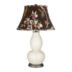 "Color Plus - Contemporary West Highland White Olive Botanical Double Gourd Lamp - Exclusive West Highland White designer color. Olive botanical print bell shade. Hand-crafted lamp. From the Color + Plus lighting collection. Maximum 150 watt or equivalent bulb (not included). 29 1/2"" high. Shade is 10"" across the top 17"" across the bottom 11"" on the slant.   Exclusive West Highland White designer color.  Olive botanical print bell shade.  Hand-crafted lamp.  From the Color + Plus lighting collection.  Maximum 150 watt or equivalent bulb (not included).  29 1/2"" high.  Shade is 10"" across the top 17"" across the bottom 11"" on the slant."