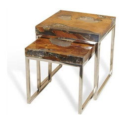 Interlude Home - Interlude Home Sivan Nesting Tables - These Interlude Home Nesting Tables  are crafted from Teak And Cracked Resin and Stainless Steel and comes in a Polished Finish.  Overall sizes are: 18 in. W  x  18 in. D x 19 in. H.  16 in. W  x  16 in. D x  16 in. H.