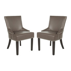 Safavieh - Safavieh Lotus Kd Side Chair X-2TES-G0074RCM Set of 2 - Straight, angular lines and simple details distinguish the padded Lotus KD side chair, in clay-colored leather with espresso finished legs.