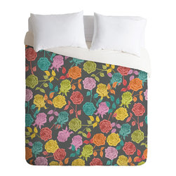 DENY Designs - DENY Designs Bianca Green Roses Red Duvet Cover - Lightweight - Turn your basic, boring down comforter into the super stylish focal point of your bedroom. Our Lightweight Duvet is made from an ultra soft, lightweight woven polyester, ivory-colored top with a 100% polyester, ivory-colored bottom. They include a hidden zipper with interior corner ties to secure your comforter. It is comfy, fade-resistant, machine washable and custom printed for each and every customer. If you're looking for a heavier duvet option, be sure to check out our Luxe Duvets!