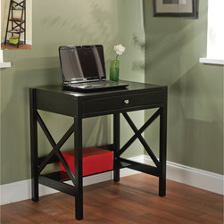 Simple Living - Simple Living Black X Writing Desk - This small black writing desk would add a sleek,contemporary touch to your office or bedroom space. Its clean lines and eye-catching cut-out detailing are super stylish,and its storage drawer and shelf make it a practical choice of desk.