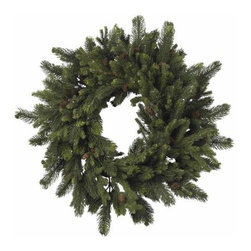 Nearly Natural - 30 Inch Pine and Pinecone Wreath - Sometimes, the classics are what you want. And this timeless 30 Pine and Pinecone Wreath fits that bill perfectly. With lush, soft needles of varying sizes, twisted into a delicate spiral, and adorned with classic pinecones, this wreath is exactly what every old time holiday decor needs. Also makes a great gift for those who enjoy a classic touch to their holiday decorating.