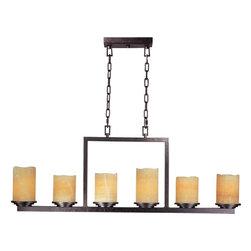 Joshua Marshal - Six Light Rustic Ebony Stone Candle Glass Candle Chandelier - Six Light Rustic Ebony Stone Candle Glass Candle Chandelier