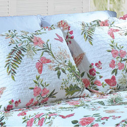 None - Secret Garden Quilted Pillow Shams (Set of 2) - Butterflies gently flutter among vibrant flowers atop this charming pillow sham. Constructed of soft cotton with piecing,this lovely pillow sham reverses to a stripe print with an overlapping envelope closure.