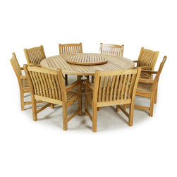 Westminster Teak Furniture - Buckingham 9pc Round 6ft Teak Dining Set - 9pc Round Buckingham Teak Patio Dining Set includes 8 Veranda Teak Dining Chairs and one 6ft diameter Buckingham Teak Round Table.  Umbrella Ready.  Lifetime Warranty.  Quality Rated Best Overall by Wall Street Journal.