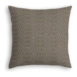Taupe Geometric Custom Euro Sham - The secret to those perfectly made beds you eye in magazines? Euro shams. Complete your bed set with a set of Simple Euro Shams for a look that's as stylish as it is snuggly.  We love it in this modern maze of taupe and white on soft cotton sateen.