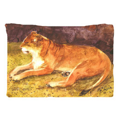 Caroline's Treasures - Lion Fabric Standard Pillowcase Moisture Wicking Material - Standard White on back with artwork on the front of the pillowcase, 20.5 in w x 30 in. Nice jersy knit Moisture wicking material that wicks the moisture away from the head like a sports fabric (similar to Nike or Under Armour), breathable performance fabric makes for a nice sleeping experience and shows quality. Wash cold and dry medium. Fabric even gets softer as you wash it. No ironing required.