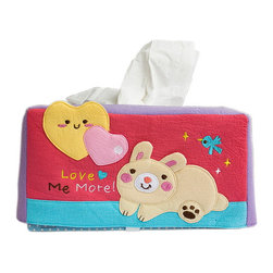 Blancho Bedding - Rabbit & HeartEmbroidered Applique Fabric Art Tissue Box Cover Holder 8.7*4.5* - Aesthetics and Functionality Combined. This lovely fabric art Tissue Box Cover features a fully embroidered and hand-appliqued design with lovely characters and patterns. Measures 8.7 inches wide x 4.5 inches high x 4.5 inches deep. The lovely design enlivens your home and office decor! It is made of 100% quality crushed, wrinkled look cotton fabrics. Soft and comfortable! Decorate your dresser, bathroom, or coffee table with this lovely handmade felt Fabric Tissue Box Cover. Its keeps tissues easy to reach, perfect for everyday use! One size fits most! This multi purpose embroidered applique tissue box cover is a must-have accessory for your home decoration. Tissue box not included!