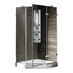 Vigo - VIGO VG6061CHCL42W Neo-Angle Shower Enclosure - VIGO's exquisite taste and superior quality is reflected in this totally frameless neo-angle shower enclosure