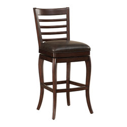"""American Heritage - American Heritage Armada Bar Height Stool - Bar Height Stool in the Armada collection by American Heritage Finished in navajo with tobacco bonded leather, the Armada also features a full-bearing 360? swivel, mortise and tenon construction, fully-integrated back support, adjustable leg levelers, and a 3"""" cushion. This stool comes complete with a 1 year warranty"""