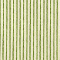 "Close to Custom Linens - 22"" Full Bedskirt Gathered Ticking Stripe Apple Green - A charming traditional ticking stripe in apple green on a cream background. Gathered with 1 1/2 to 1 fullness, split corners and a 22 inch drop. 100% cotton with a cotton/poly platform."