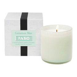 Geranium Mint /Patio Candle - Fresh and cool, the Geranium Mint Patio Candle's aroma naturally repels bugs while leaving a soft, cultured scent in the air of your home. The sweet flowers and tender young mint leaves create a nuanced pale green scent which infuses the soy-based wax of this natural candle. Beautifully contained in a reusable art glass vessel, the sweet and mellow aroma creates instant sophistication.