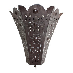 Badia Design Inc. - Tapered Rustic Iron Hanging Wall Sconce - Made from Wrought Iron