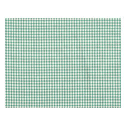 "Close to Custom Linens - 90"" Tablecloth Round Gingham with Stripe Topper Pool Blue-Green - A charming traditional gingham check in pool blue-green on a cream background. Includes a 90"" round cotton tablecloth."