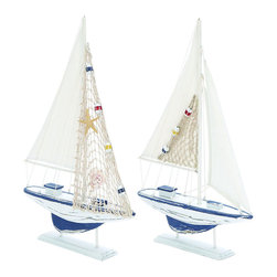 Benzara - Wooden Sailing Boat with Assorted Carved Edges - Set of 2 - When tranquility is music to your ears and the ocean is an epithet for freedom, then this Assorted Wooden Sailing Boat - Set of 2 is sure to make you nostalgic. Made in China, this boat set is designed with articulate edges which resemble a realistic yacht. The imitation of the boats is perfected and includes smooth wooden textures which make them appear like miniature sailing wonders. Fitted with a sail that is made with white linen fabric, fused with colors of the sea, making it more attractive. A square extensive supports the base, ensuring the boat has maximum sturdiness. The plainness of the entire set is a subtle representation of life at sea along with its related components. Charming in every way possible, this set is sure to bring casual style to your interiors. It is available in 2 size variants - 20 in.  H x 13 in.  W x 2 in.  D, 20 in.  H x 13 in.  W x 2 in.  D.
