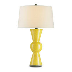 Currey and Company - Upbeat Table Lamp, Yellow - Beautiful terracotta lamp in a yellow finish. The lamp can be used in a traditional as well as transitional settings. The shade is an off white linen.