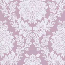 Brewster Home Fashions - Liza Purple Roselle Damask Wallpaper. - A soft lilac base creates a perfect regal wall covering for any room in your home. Richly adorned in a large damask print, it claims both attention and beauty.