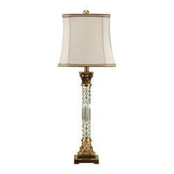 "Wildwood - Traditional Wildwood Crystal Column Table Lamp - Add some classic elegance to your decor with the Crystal Column table lamp from Wildwood. With a column of textured crystal glass and brass accents this table lamp shines with a stylish luminous glow. The elegant empire shade has gold banding at top and bottom for an extra dash of style. Cut glass column. Bass accents. Banded silk shade. Takes one 100 watt bulb or equivalent (not included). 3-way switch. 33"" high. Shade is 10""x10"" at top 12""x12"" at bottom 11"" high.  Cut glass column.  Bass accents.  Banded silk shade.  Takes one 100 watt bulb or equivalent (not included).  3-way switch.  33"" high.  Shade is 10"" by 10"" at top 12"" by 12"" at bottom 11"" high."