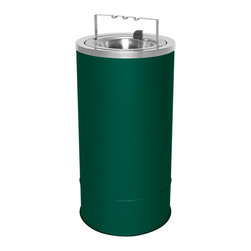 Ex-Cell - Pioneer 20 in. Freestanding Floor Urn in Hunter Green - Removable flip top with bridge and chrome powder trim. Decorative chrome powder trim. EXL-coat textured finish prevent fingerprints and smudges. ADA compliant. Blades made from 30% recycled stainless steel. Made from USA. 10 in. Dia. x 20 in. H. Warranty. Care and Maintenance