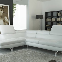 Living Room Furniture - Model Alma. Limited Time Promotional Offer! Special Price: $1,699. Regular Price: $2,799. Italian Style Leather Sectional. Color: Pure White or Black. Features: ratchet mechanism on headrests and 1 side armrest, allowing you to adjust according to your individual comfort. This set is available in Right facing chaise, or left facing chaise. Chrome legs and chrome ratchet mechanism behind headrest. Durable construction. Dimensions: 113.5'' L x 88'' Chaise x 40.5'' D.