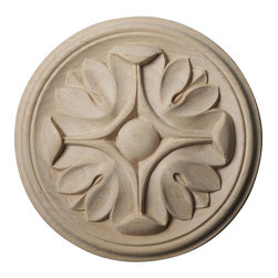 """Ekena Millwork - 5""""W x 5""""H x 3/4""""P Raymond Rosette, Cherry - Our rosettes are the perfect accent pieces to cabinetry, furniture, fireplace mantels, ceilings, and more.  Each pattern is carefully crafted after traditional and historical designs.  Each piece is carefully carved and then sanded ready for your paint or stain.  They can install simply with traditional wood glues and finishing nails."""