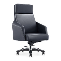 Zuri Furniture - Lauren Genuine Leather Aluminum Base Chair, Black - Exquisite and supple, the Lauren executive desk chair is crafted with genuine leather for comfort with a sturdy aluminum swivel base for great durability. Featuring a synchronized mechanism and an ergonomic design as well, the Lauren is a prime investment for every businessperson. Available for purchase today in black, dark gray, cream and white.