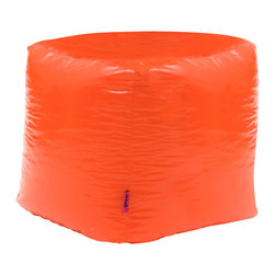 Great Deal Furniture - Jamie Orange Vinyl Square Kids Bean Bag - The Jamie bean bag provides you or your child a comfortable seat in any room. The puncture-proof vinyl cover is durable for any child with a combination of long-lasting polystyrene beans. Perfect for the bedroom, home theater rooms, family and game rooms.