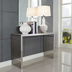 Brickell Console Table - Sleek and wonderfully modern, the Brickell Console Table offers a contemporary approach to decor. This versatile console table can be placed in a hallway, behind a couch or seating, next to a dining table or used as extra storage in your living area, or office. The Brickell Console Table provides a unique accent to your modern decor while offering unlimited possibilities. Available Stainless Steel.