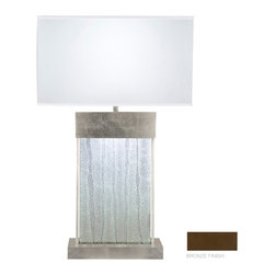Fine Art Lamps - Crystal Bakehouse Clear Crystal Table Lamp, 824810-13ST - Celebrate the beauty of hand-crafted crystal with this striking table lamp. A polished block of crystal shards is bracketed by bronze, silver or silver-leaf metal, then topped with a rectangular fabric shade for a look that's both strongly architectural and seductively light.