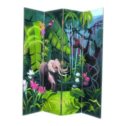Wayborn - Wayborn Hand Painted Elephant In Jungle Room Divider - Wayborn - Room Dividers - 2207 - Wayborn hand painted screens start with a cedar plywood frame covered in a cheesecloth material. Then layer after layer of plaster is applied; each layer must dry before another layer can be applied. After all the plaster has been applied several coats of lacquer is put over the entire surface. At that time the artist begins to sketch out the painting directly on the panels of the screen and begins painting the design with water based paint.  Each one of these screens has its own characteristics and is truly a work of art.