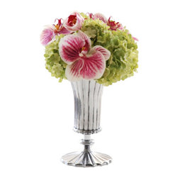Jane Seymour Botanicals - Phalaenopsis Orchid and Snowball Vase - Don't give up on your dream of keeping exquisite orchids in your home due to a lack of a green thumb. This permanent arrangement of Phalaenopsis orchids and green viburnum in a silver ceramic vase needs no care on your part to maintain its magnificent blooms.