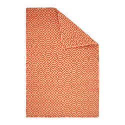 Hook & Loom Rug Company - Shelbourne Orange/Yellow Eco Cotton Rug - Very eco-friendly rug, hand-woven with yarns spun from 100% recycled fiber.  Color comes from the original textiles, so no dyes are used in the making of this rug.  Hand-bound edges instead of hems, so it is 100% reversible for twice the wear. Machine wash and tumble dry. Made in India.
