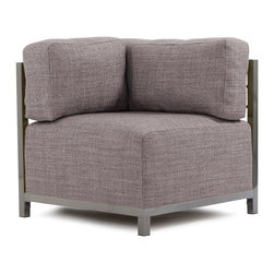 Howard Elliott - Coco Slate Axis Corner Chair - Titanium Frame - At the height of fashion! Lounge in style on coco axis corners. Float the coco axis corner on its own or pair it up with additional corner, chair or ottoman pieces. This chair features boxed cushions with velcro attachments to keep the cushions from slipping and looking their best all of the time.