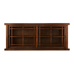 Spencer Large Bookcase - The epitome of Indonesian artisanship, Spencer Bookcases offer the timeless beauty and warmth of genuine mindy wood with the clean and classic look of glass windowpane doors. It works beautifully as a TV console while two or three stacked to the ceiling creates the look of a dramatic wall of built-ins.