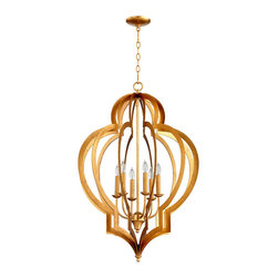 Vertigo Gold Leaf Chandelier - Blazing in gold leaf and framing six lights in arabesque bars of rich metal, the Vertigo Gold Leaf Chandelier offers billowing geometry and bright upscale glow, making it a perfect choice for lighting the nights of a room that's sun-drenched by day.  Use this dramatic piece in bedrooms and living spaces for a romance beyond the merely ordinary.