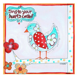 Stupell Industries - Sing to Your Hearts Content Bird Square Wall Plaque - Made in USA. MDF Fiberboard. Hand finished and packed. Approx. 11 in. W x 15 in. L. 0.5 in. ThickThe Kids Room by Stupell features exceptional handcrafted wall decor for children of all ages.  Using original art designed by in-house artists, all pieces feature hand painted and grooved borders as well as colorful grosgrain ribbon for hanging.  Made in the USA, everything found in The Kids Room by Stupell exudes extraordinary detail with crisp vibrant color. Whether you are looking for one piece to match an existing room's theme, or looking for a series to bring the kid's room to life, you will most definitely find what you are looking for in The Kids Room by Stupell.