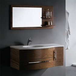 """Vigo Industries - Vigo 44"""" Single Bathroom Vanity with Mirror and Shelves - Black Walnut - This durable Vigo vanity was constructed with you in mind. No other brand can match Vigo's style, quality and design. The cabinet is made from solid wood in black walnut finish which consists of an anti-scratch paint surface for enhanced durability and frequent use. The single door and sliding drawer feature soft close rails.Features Includes a white recessed ceramic sink Includes a white man-made marble countertop with a single hole for a faucet Includes matching mirror Includes solid brass, chrome-plated drain assembly All mounting hardware included 5 Year Limited Warranty Faucet NOT included How to handle your counter View Spec Sheet Dimensions   Width Depth Height Vanity 44 22 18 1/2 Mirror 43 1/4   21 5/8"""