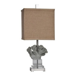 "Lamps Plus - Contemporary Crestview Collection Reef Blue Coral Table Lamp - Bring oceanside allure into your space with this contemporary coastal table lamp featuring soft blue finish coral. This stylized naturalistic design sits atop a stand of gleaming clear crystal and is completed by a rectangular burlap shade. Revitalize your decor with this wonderful piece from Crestview Collection lighting. Coral motif transitional table lamp. Blue coral finish. Resin crystal and metal construction. Rectangular burlap shade. Clear crystal stand. Brushed silver finish square base. Takes one 150 watt 3-way bulb (not included). Shade measures 11"" wide 8"" deep and 11"" high. 24 1/2"" high.  Coral motif transitional table lamp.  Blue coral finish.  Resin crystal and metal construction.  Rectangular burlap shade.  Clear crystal stand.  Brushed silver finish square base.  Takes one 150 watt 3-way bulb (not included).  Shade measures 11"" wide 8"" deep and 11"" high.  24 1/2"" high."