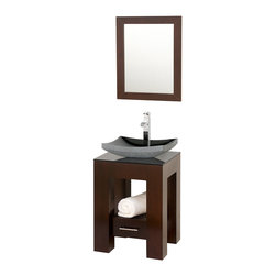 Wyndham Collection - Amanda Espresso with Smoke Glass Top with Black Granite Sink - Introducing the beautiful and unique Amanda bathroom vanity. This fresh design showcases style and versatility in a slim space, with an open storage area for towels, baskets, and other toiletries, and a drawer for other accessories. It's the perfect powder room vanity.