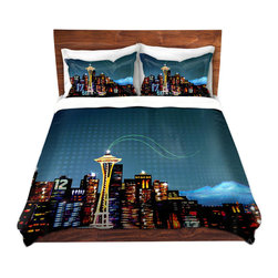 DiaNoche Designs - Duvet Cover Twill - Seattle Skyline Sports - Lightweight and soft brushed twill Duvet Cover sizes Twin, Queen, King.  SHAMS NOT INCLUDED.  This duvet is designed to wash upon arrival for maximum softness.   Each duvet starts by looming the fabric and cutting to the size ordered.  The Image is printed and your Duvet Cover is meticulously sewn together with ties in each corner and a concealed zip closure.  All in the USA!!  Poly top with a Cotton Poly underside.  Dye Sublimation printing permanently adheres the ink to the material for long life and durability. Printed top, cream colored bottom, Machine Washable, Product may vary slightly from image.
